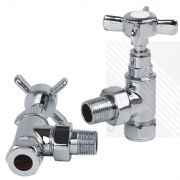 Pair Arian Traditional Angled Radiator Valves Chrome Bathroom Towel 15mm x 1/2""